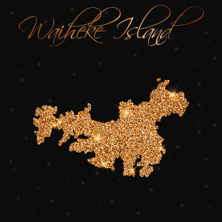 Waiheke Island map filled with golden glitter. Luxurious design element, vector illustration.