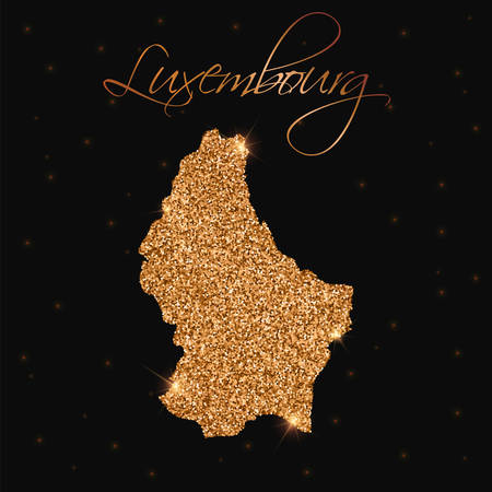 Luxembourg map filled with golden glitter. Luxurious design element, vector illustration. Ilustração