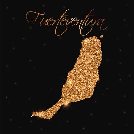Fuerteventura map filled with golden glitter. Luxurious design element, vector illustration.