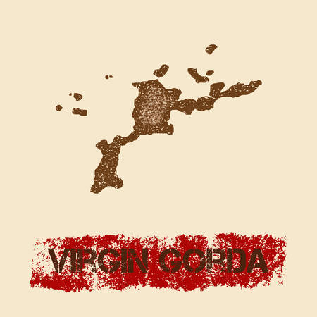 Virgin Gorda distressed map. Grunge patriotic poster with textured island ink stamp and roller paint mark, vector illustration.