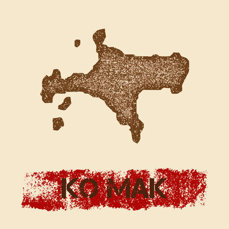 Ko Mak distressed map. Grunge patriotic poster with textured island ink stamp and roller paint mark, vector illustration.