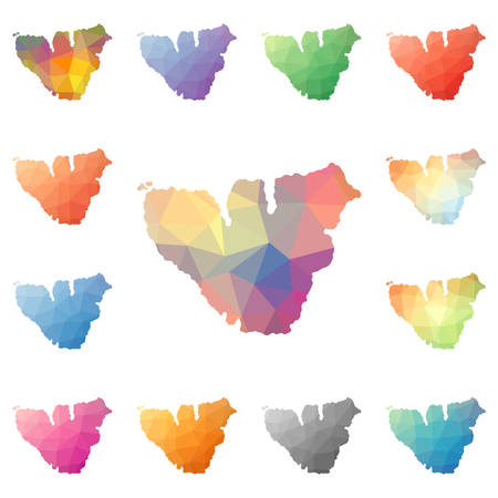 Moorea geometric polygonal, mosaic style island maps collection. Bright abstract tessellation, low poly style, modern design. Moorea polygonal maps for your infographics or presentation. Illustration