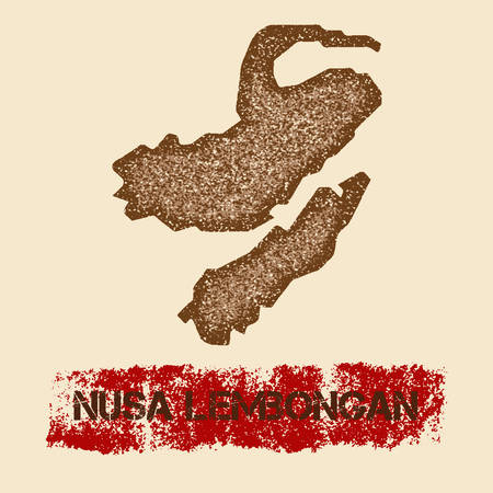 Nusa Lembongan distressed map. Grunge patriotic poster with textured island ink stamp and roller paint mark, vector illustration.