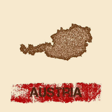 Austria distressed map. Grunge patriotic poster with textured country ink stamp and roller paint mark, vector illustration.