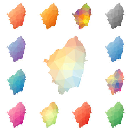 Naxos geometric polygonal, mosaic style island maps collection. Bright abstract tessellation, low poly style, modern design. Naxos polygonal maps for your infographics or presentation.