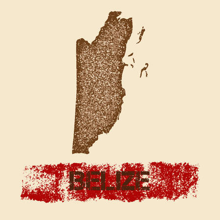 Belize distressed map. Grunge patriotic poster with textured country ink stamp and roller paint mark, vector illustration.