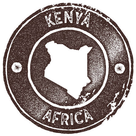 Kenya map vintage stamp. Retro style handmade label, badge or element for travel souvenirs. Brown rubber stamp with country map silhouette. Vector illustration.  イラスト・ベクター素材