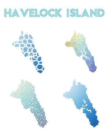 Havelock Island polygonal island map. Mosaic style maps collection. Bright abstract tessellation, geometric, low poly, modern design. Havelock Island polygonal maps for info-graphics or presentation.