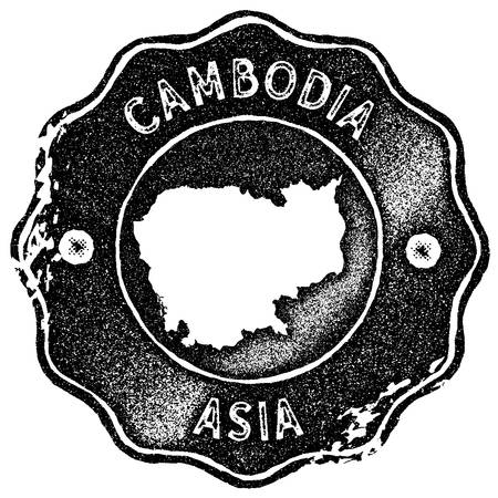 Cambodia map vintage stamp. Retro style handmade label, badge or element for travel souvenirs. Black rubber stamp with country map silhouette. Vector illustration. Çizim