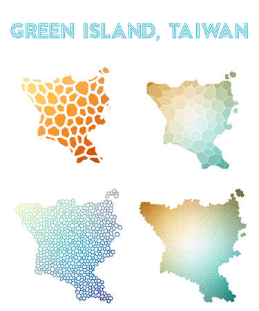 Green Island, Taiwan polygonal island map. Mosaic style maps collection. Bright abstract tessellation, geometric, low poly, modern design.