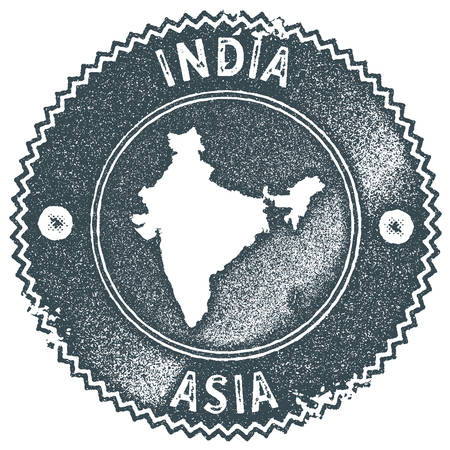 India map vintage stamp. Retro style handmade label, badge or element for travel souvenirs. Dark blue rubber stamp with country map silhouette. Vector illustration.
