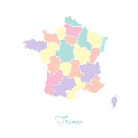 France region map: colorful with white outline. Detailed map of France regions. Vector illustration.