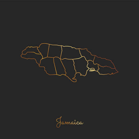 Jamaica region map: golden gradient outline on dark background. Detailed map of Jamaica regions. Vector illustration.