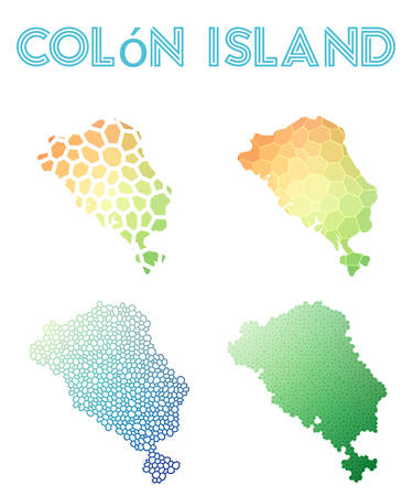 Colon Island polygonal island map. Mosaic style maps collection. Bright abstract tessellation, geometric, low poly, modern design. Colon Island polygonal maps for info-graphics or presentation.