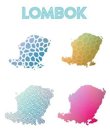 Lombok polygonal island map. Mosaic style maps collection. Bright abstract tessellation, geometric, low poly, modern design. Lombok polygonal maps for infographics or presentation.