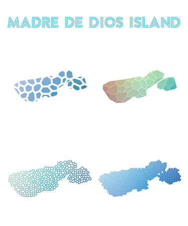 Madre de Dios Island polygonal island map. Mosaic style maps collection. Bright abstract tessellation, geometric, low poly, modern design.