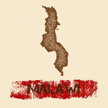 Malawi distressed map. Grunge patriotic poster with textured country ink stamp and roller paint mark, vector illustration. Illustration