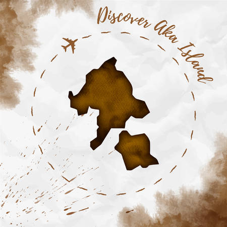 Aka Island watercolor island map in sepia colors. Discover Aka Island poster with airplane trace and handpainted watercolor Aka Island map on crumpled paper. Vector illustration.