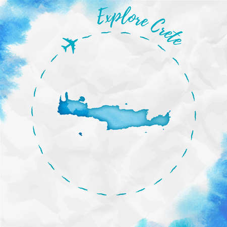 Crete watercolor island map in turquoise colors. Explore Crete poster with airplane trace and handpainted watercolor Crete map on crumpled paper. Vector illustration. Çizim
