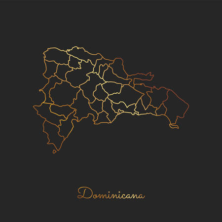Dominicana-Regionskarte: goldener Steigungsentwurf auf dunklem Hintergrund. Detaillierte Karte der Dominicana Regionen. Vektor-illustration