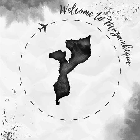 Mozambique watercolor map in black colors. Welcome to Mozambique poster with airplane trace and handpainted watercolor Mozambique map on crumpled paper. Vector illustration. Illustration