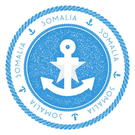 Nautical Travel Stamp with Somalia Flag and Anchor. Marine rubber stamp, with round rope border and anchor symbol on flag background. Vector illustration. Vector Illustration