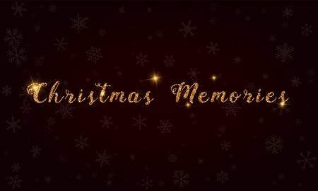 Christmas memories, golden glitter hand lettering greeting card. Luxurious design element, vector illustration. Ilustrace