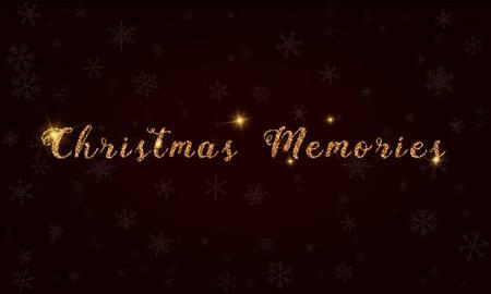 Christmas memories, golden glitter hand lettering greeting card. Luxurious design element, vector illustration. Illustration
