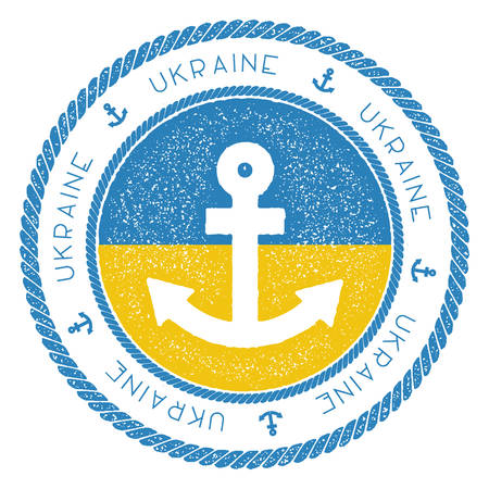 Nautical Travel Stamp with Ukraine Flag and Anchor. Marine rubber stamp, with round rope border and anchor symbol on flag background.