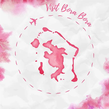 Carte de l'île aquarelle Bora Bora en couleurs rouges. Visitez l'affiche de Bora Bora avec la trace de l'avion et la carte Bora Bora aquarelle peinte à la main sur du papier froissé. Illustration vectorielle