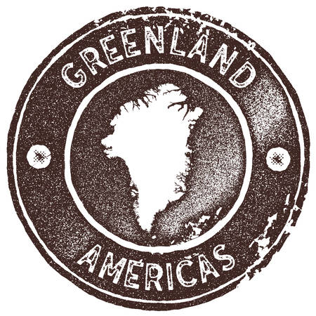 Greenland map vintage stamp. Retro style handmade label, badge or element for travel souvenirs. Brown rubber stamp with country map silhouette. Vector illustration.