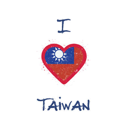 I love Taiwan, Republic Of China t-shirt design. Taiwanese flag in the shape of heart on white background. Grunge vector illustration.
