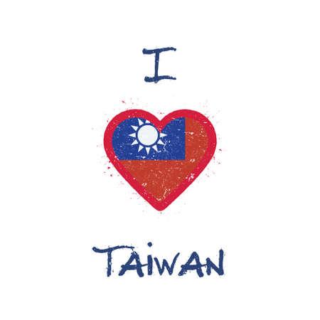 Ik hou van t-shirtontwerp in Taiwan, de Republiek China. Taiwanese vlag in de vorm van hart op witte achtergrond. Grunge vector illustratie.