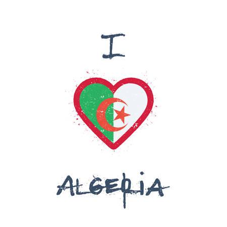I love Algeria t-shirt design. Algerian flag in the shape of heart on white background. Grunge vector illustration. Vectores