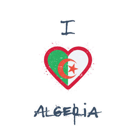 I love Algeria t-shirt design. Algerian flag in the shape of heart on white background. Grunge vector illustration. Çizim