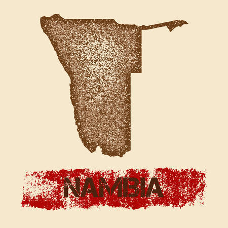 Namibia distressed map. Grunge patriotic poster with textured country ink stamp and roller paint mark, vector illustration.