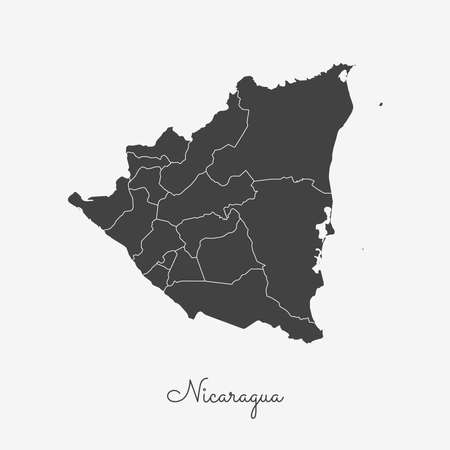 Nicaragua region map: grey outline on white background. Detailed map of Nicaragua regions. Vector illustration. Иллюстрация