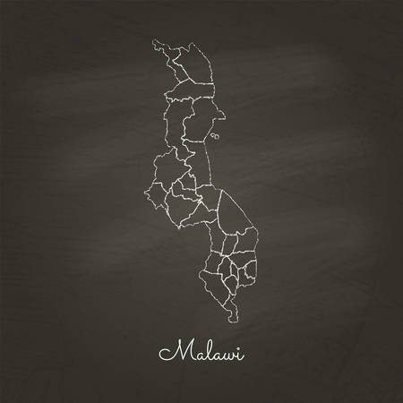 Malawi region map: hand drawn with white chalk on school blackboard texture. Detailed map of Malawi regions. Vector illustration.