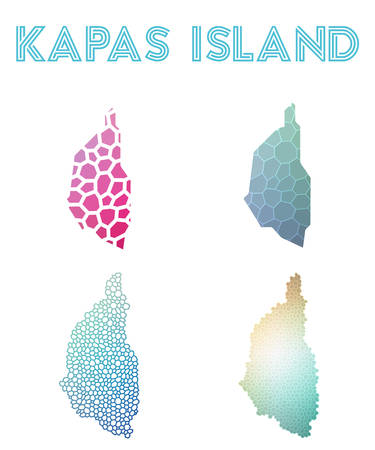 Kapas Island polygonal island map. Mosaic style maps collection. Bright abstract tessellation, geometric, low poly, modern design. Kapas Island polygonal maps for infographics or presentation.
