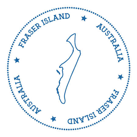 Fraser Island map sticker, hipster and retro style badge. Insignia with round dots border, island vector illustration.