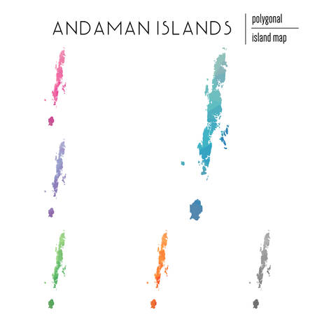 Set of vector polygonal Andaman Islands maps filled with bright gradient of low poly art. Multicolored island outline in geometric style for your infographics.