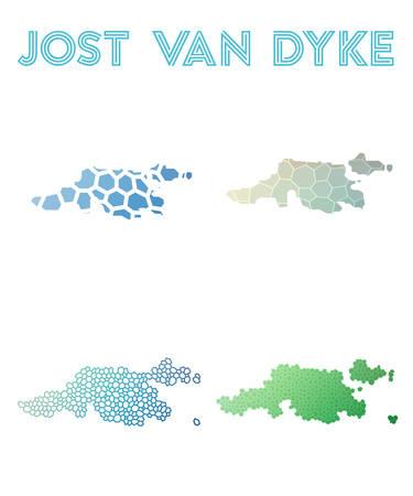 Jost Van Dyke Polygonal Island Map Mosaic Style Maps Collection