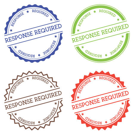Response required badge isolated on white background. Flat style round label with text. Circular emblem vector illustration. Illusztráció