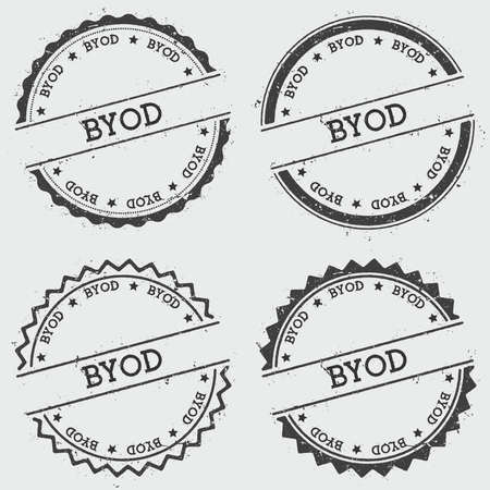 Byod insignia stamp isolated on white background. Grunge round hipster seal with text, ink texture and splatter and blots, vector illustration.  イラスト・ベクター素材