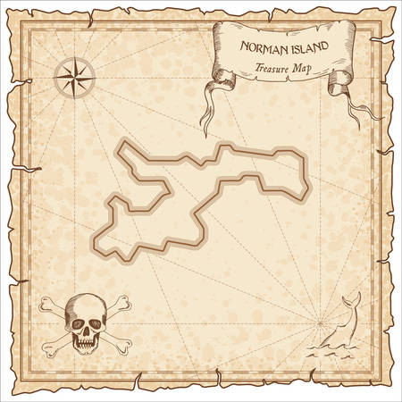 Norman Island old pirate map. Sepia engraved parchment template of treasure island. Stylized manuscript on vintage paper. Vettoriali