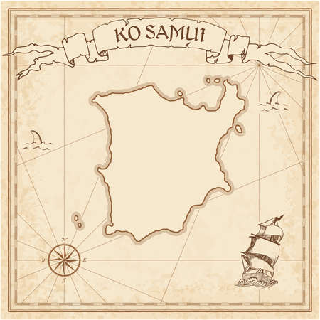 Ko Samui old treasure map. Sepia engraved template of pirate island parchment. Stylized manuscript on vintage paper.