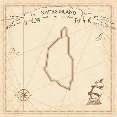 Kapas Island old treasure map. Sepia engraved template of pirate island parchment. Stylized manuscript on vintage paper. Illustration