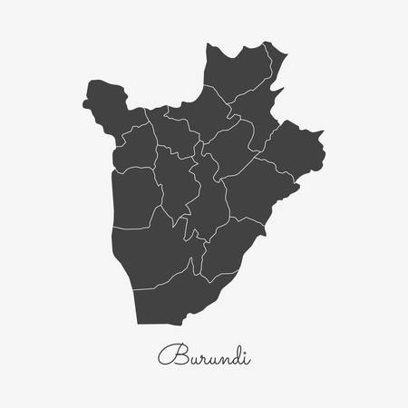 Burundi region map: grey outline on white background. Detailed map of Burundi regions. Vector illustration.