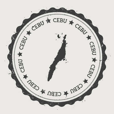 Cebu sticker. Hipster round rubber stamp with island map. Vintage passport sign with circular text and stars, vector illustration.