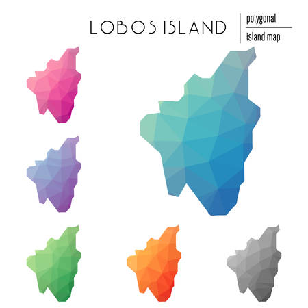 Set of vector polygonal Lobos Island maps filled with bright gradient of low poly art. Multicolored island outline in geometric style for your infographics.